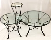 Glass table trio, round with metal bases Livermore, 94551