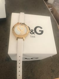 D&G gold and white leather watch Edmonton, T5B 4W5