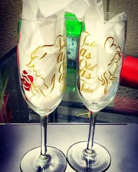 Custom made champagne glasses with your design