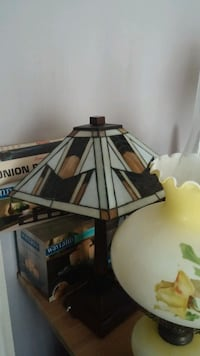 black and white table lamp stain glass
