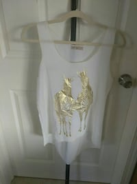 white and yellow tank top