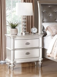 Brand New Liliana Antique Silver Wood 2-Drawer Nightstand by Poundex 2272 mi