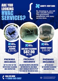 $82 Air duct and dryer vent cleaning package, $39 Chimney sweep 10' and inspection Frederick
