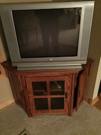 gray CRT television with brown wooden TV stand Lakeville, 55044