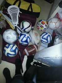 Lacrosse stick, balls( rugby,football,soccer