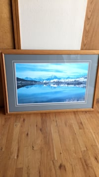 Picture of the Tetons  wood frame.  1465 mi