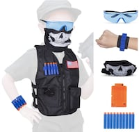 Brand New Kids Tactical Vest Kit Compatible Nerf Guns N-Strike Elite Series,Choyur Thicken Waterproof Compatible Nametag Ripping Battle Vest with Face Mask,Protective Glasses,20pcs Refill Darts Hayward, 94542