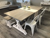 Beautiful custom made Farmhouse table with 2 modern white chairs!