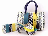 monogrammed white-black-yellow-and-green CH leather bag set