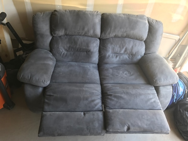 Gray suede 3-seat recliner sofa