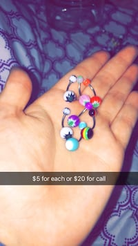 assorted belly button piercings $5 for one $20 for all  Abilene, 79606