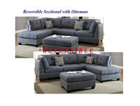 Blue Grey Fabric Sectional with Ottoman  Houston