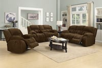 NEW 2pc Chocolate Chenille Upholstered Reclining Sofa and Love Seat Group Charlotte, 28216