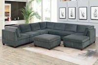 Only $50 Down!  New Spacious Sectional. Grey Extra Large. Delivered unassembled in the Box ! Cerritos