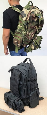 New $25 each 55L Outdoor Sport Bag Camping Hiking School Backpack (Black or Camouflage) Whittier