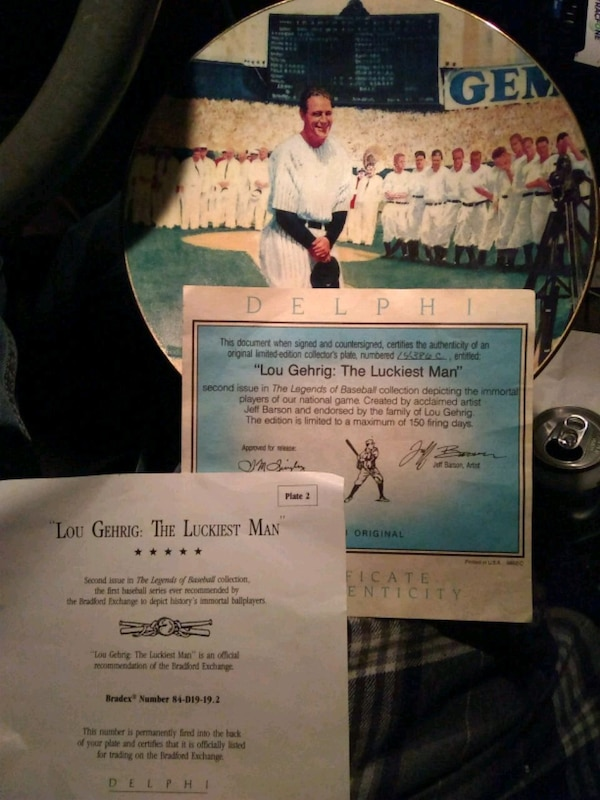 Lou Gehrig- The luckiest man plate