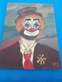 clown painting signed
