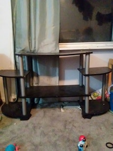 gray and brown wooden television stand