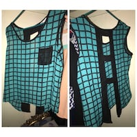 women's teal and black sleeveless top Imperial, 92251