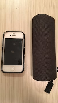 White iphone 4 with black case and black web portable speaker Edmonton, T6W 2K8