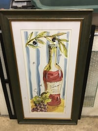 wine bottle with grapes painting and gray frame