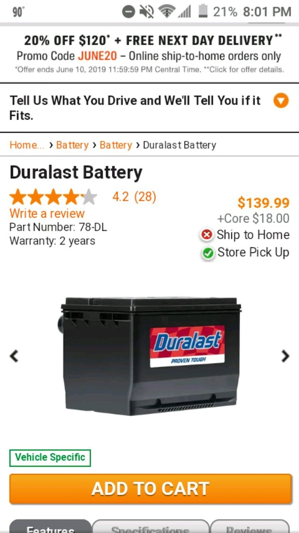 Used Duralast 78-DL Battery for sale in Durant - letgo