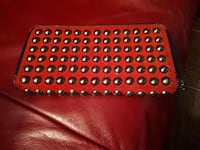 studded rød top-zip clutch bag Larvik, 3261