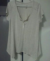 white and gray stripe deep V-neck cap sleeve top Bonsall, 92003