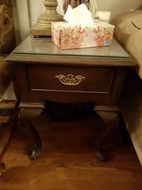 dark mahogany chocolate side table end table with glass top