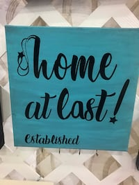 """Home"" at Last canvas w/key holder Virginia Beach, 23464"