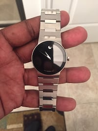 Silver link chain movado analog watch