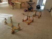 three gold wooden table base square glass top end Voorhees Township, 08043