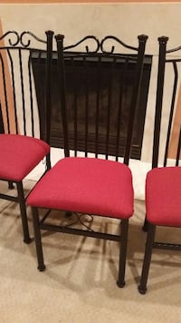 3 black metal chairs with red cushions OLNEY