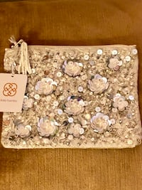 Daisy Fuentes Pearl Color Beaded Sequin Jewelry Bag Cosmetic Pouch