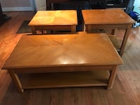 Coffee table and 2 and tables , Maple color Reston, 20191