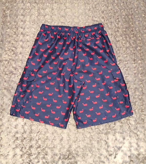 Men's Beverly Hills Polo Club plaid $45 size M Navy Blue w/ Red Whales Swim Shorts Trunks purchased from Saks fifth Avenue.  caa58007-7ec6-4714-810e-bc71bab57585