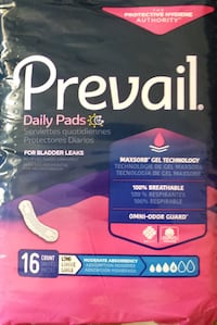 Lot of 6 Prevail Incontinence Pads