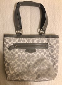 Authentic Coach F14693 Penelope Signature Gray Canvas Leather Tote