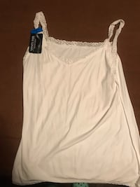 Women's white lace trimmed tank Taneytown, 21791