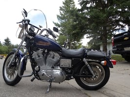Black and blue cruiser motorcycle