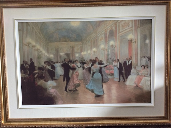 people dancing painting with brown wooden frame