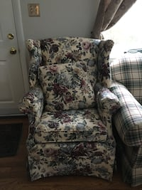 white and red floral sofa chair