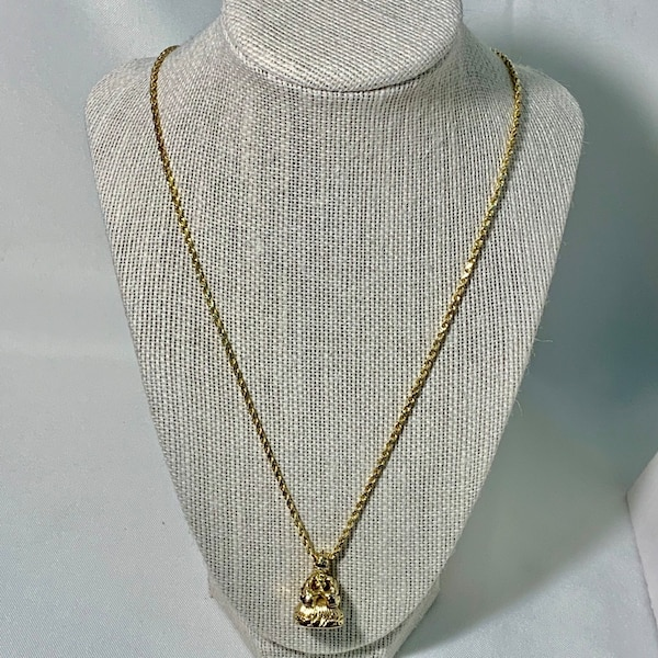 Antique 14k Yellow Gold Watch Fob Pendant with 14k Rope Chain 1ef5b4dc-7bee-41ab-b5d4-e95579f1f157