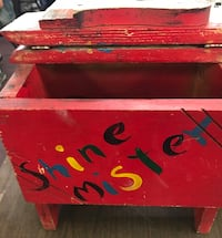 Vintage hand painted child's shoe shine box. Wood box with wood foot rest Baltimore, 21222