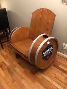 One of a kind wooden beer chair