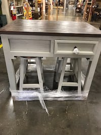 New Farmhouse style solid wood center island with 4 barstools