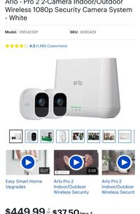 Arlo pro 2 - 2 camera kit, wireless 1080p camera kit with alarm functions. Works perfect no issues.  Linthicum Heights, 21090