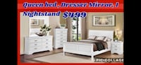 Queen bed dresser mirror nightstand  Newark, 07114