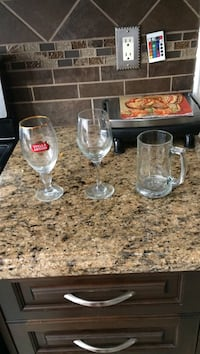 Two clear wine glasses and clear glass beer mug Pickering, L1V