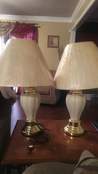 Two white ceramic base table lamps Sumter, 29154
